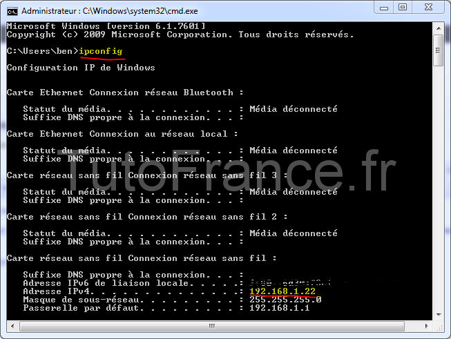 connaître l'adresse IP de Windows toutes versions 1