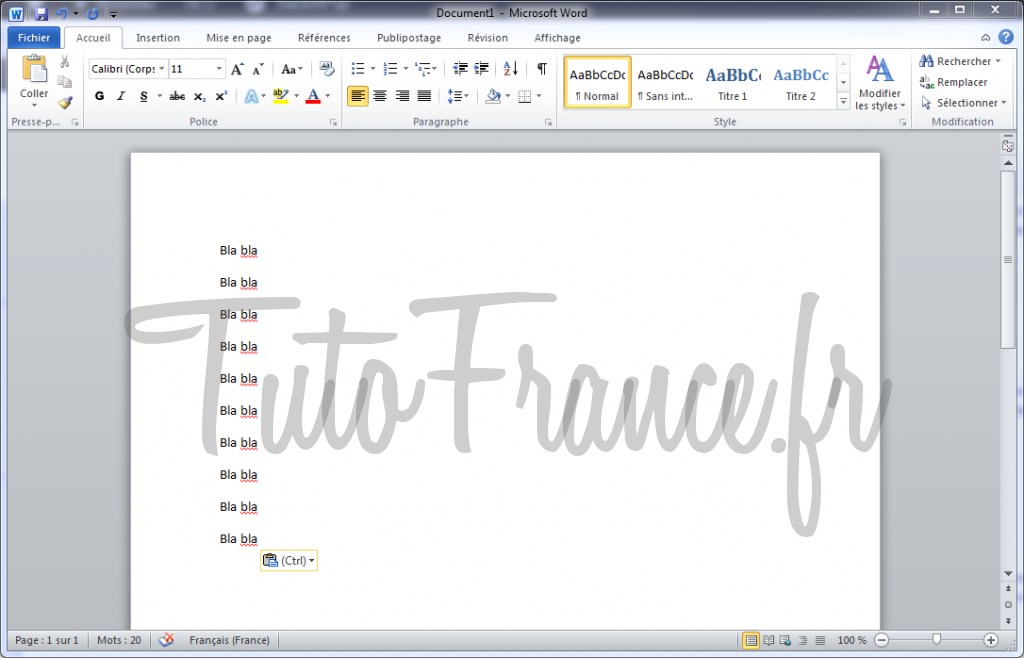 Enregistrer un document Word 2010