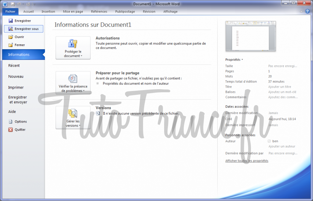 Enregistrer un document Word 2010 2