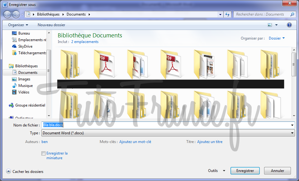 Enregistrer un document Word 2010 3