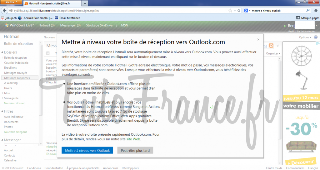 Mettre à niveau de windows live à outlook 3