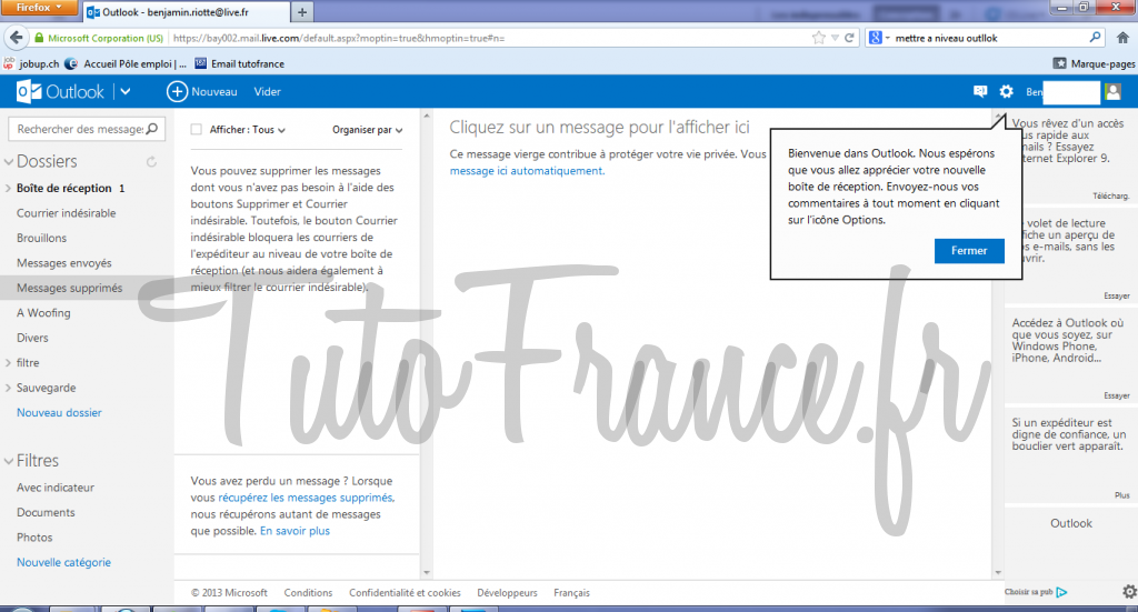 Mettre à niveau de windows live à outlook 4