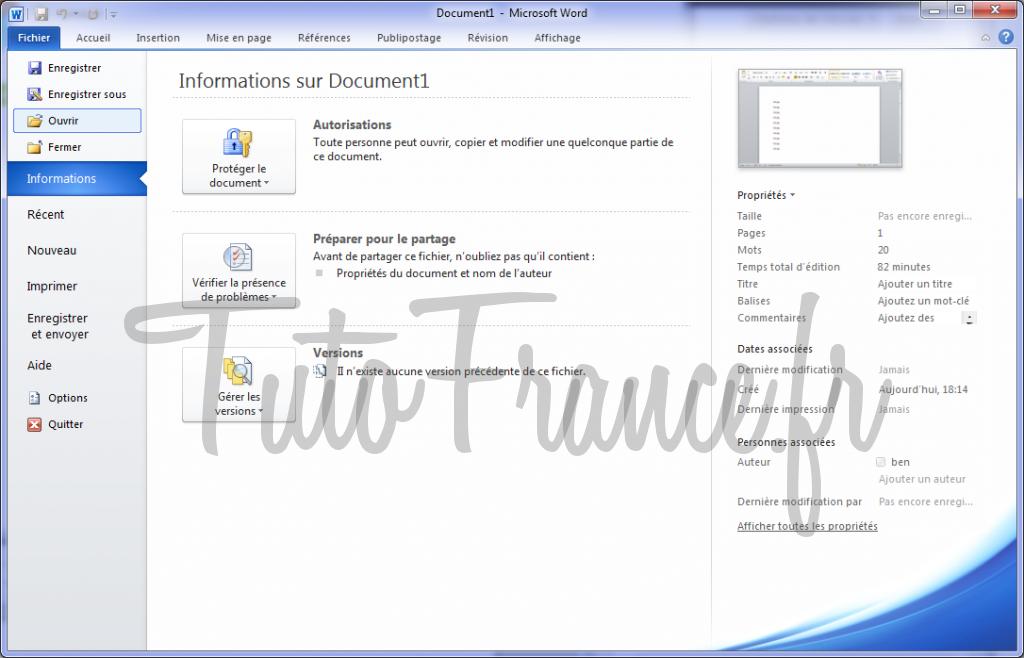 Ouvrir un document Word 2010 1