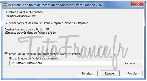 Reparation base email Outlook 2007 (5)