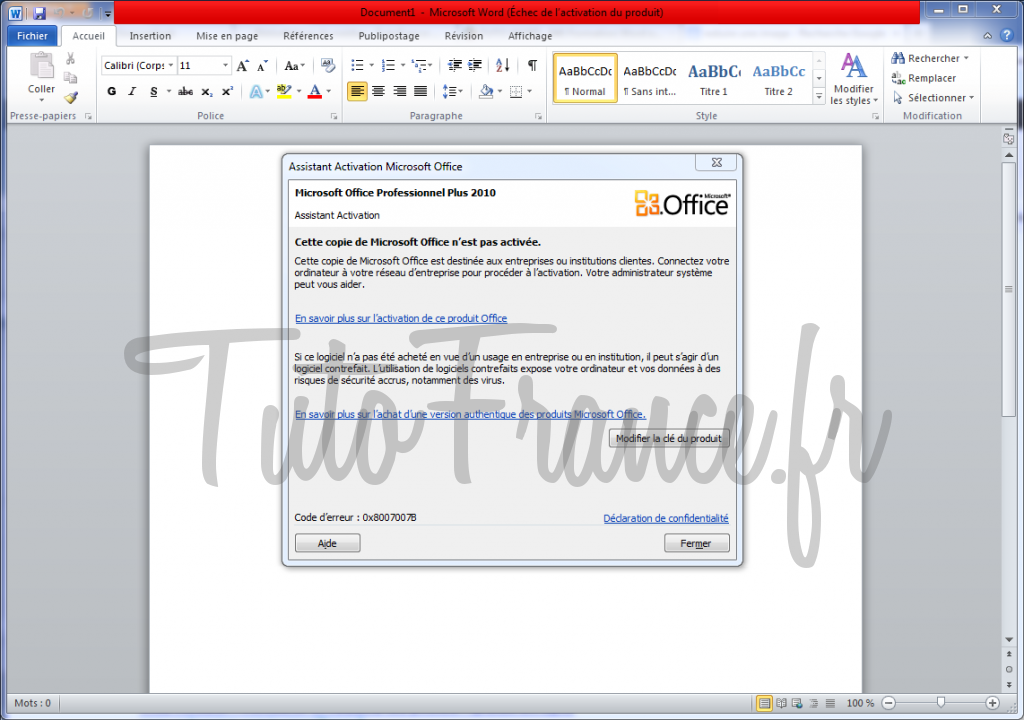 activation de Word 2010 1