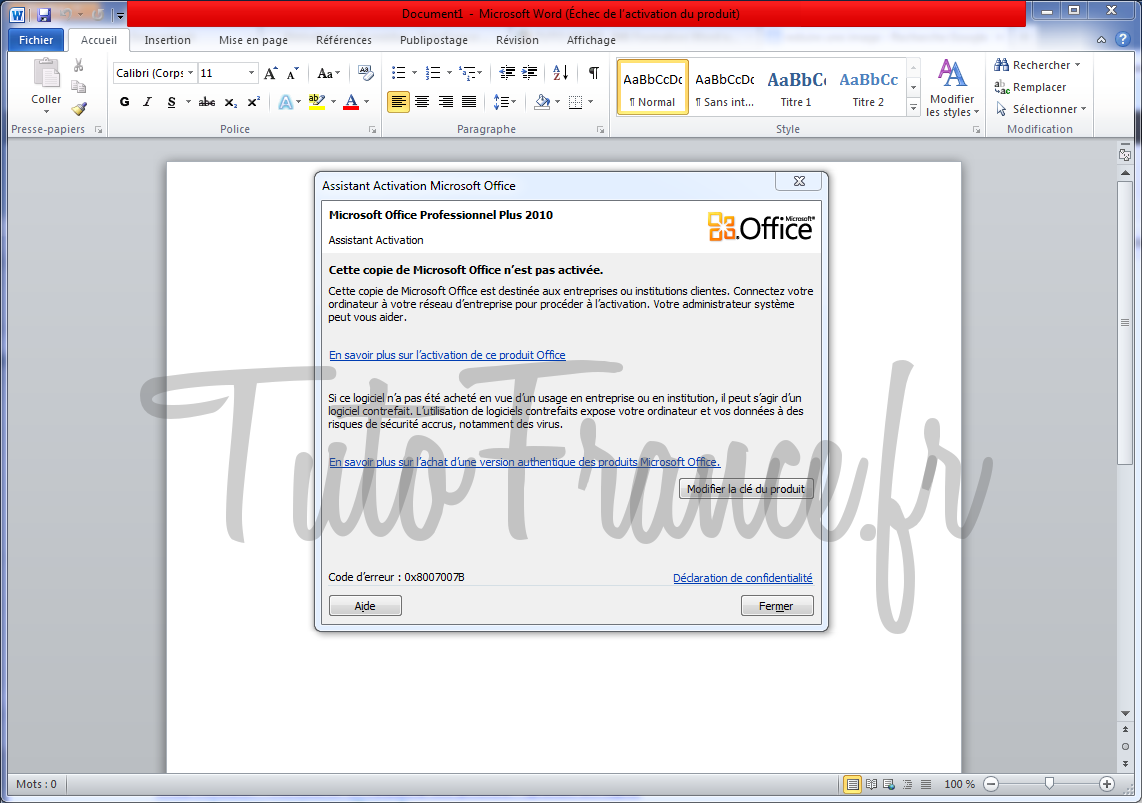 activation de word 2010