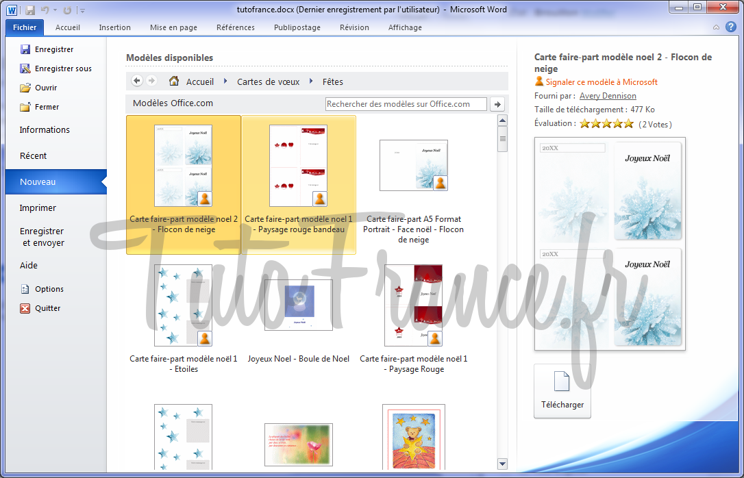 Word 2010 Crer Un Document Vierges Ou Avec Modle 3