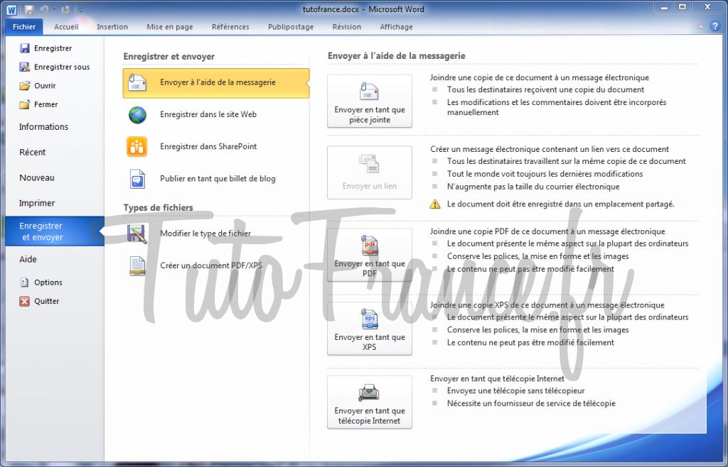 Word 2010 enregistrer et envoyer un document 1