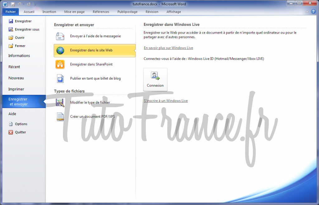 Word 2010 enregistrer et envoyer un document 2