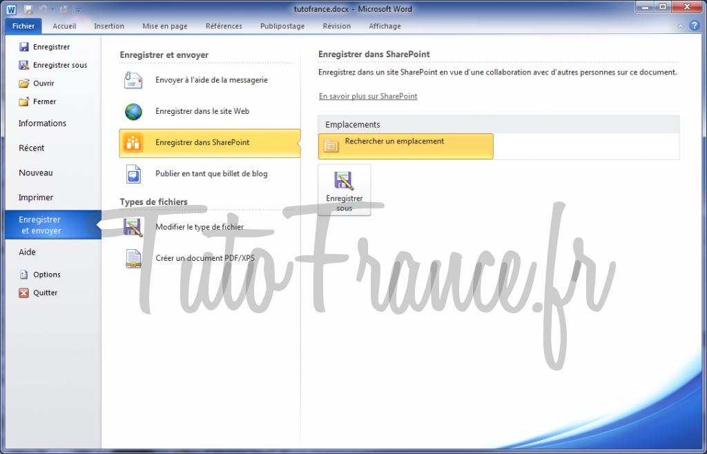 Word 2010 enregistrer et envoyer un document 3