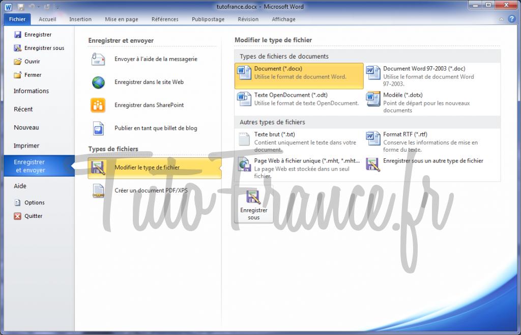Word 2010 enregistrer et envoyer un document 5