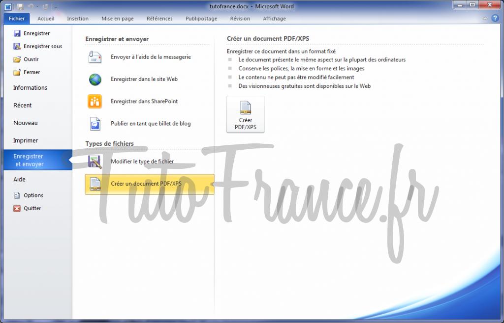 Word 2010 enregistrer et envoyer un document 6