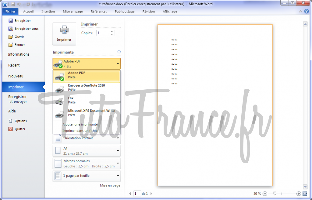 Word 2010 imprimer un document et paramétrage 2