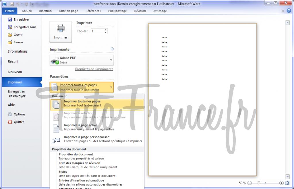 Word 2010 imprimer un document et paramétrage 3
