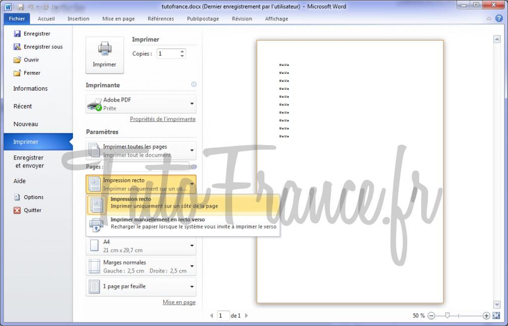 Word 2010 imprimer un document et paramétrage 4