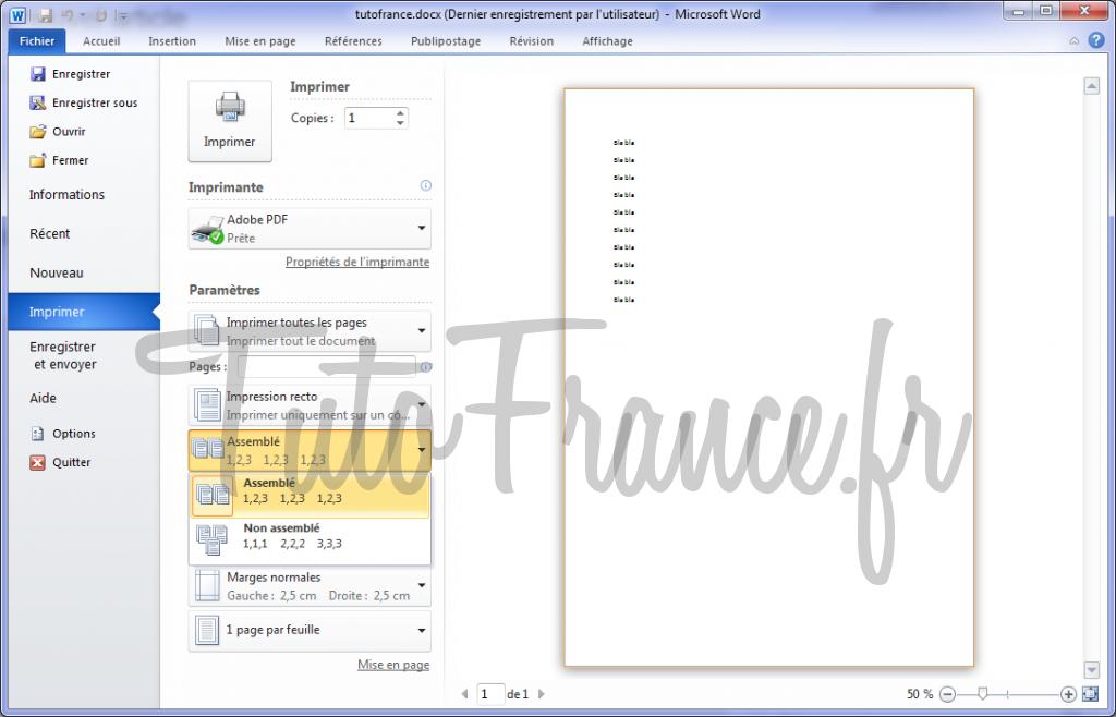 Word 2010 imprimer un document et paramétrage 5