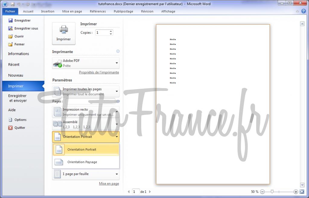 Word 2010 imprimer un document et paramétrage 6