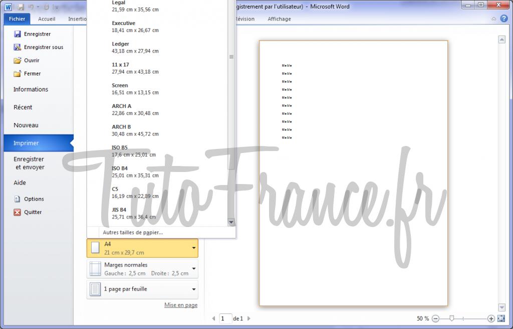 Word 2010 imprimer un document et paramétrage 7