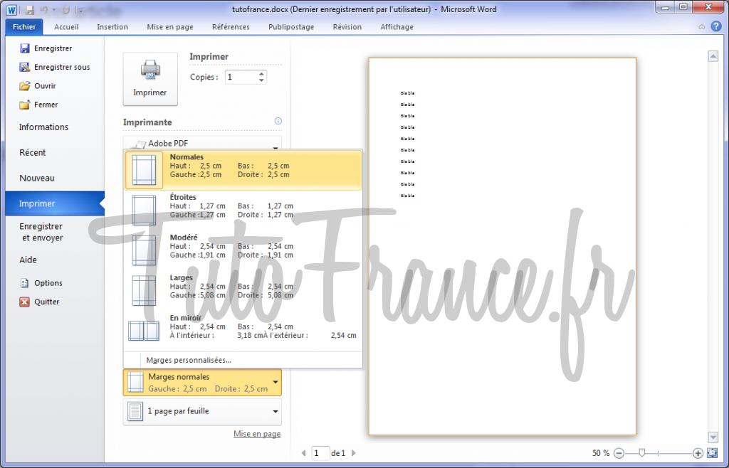 Word 2010 imprimer un document et paramétrage 8