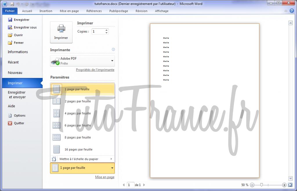 Word 2010 imprimer un document et paramétrage 9