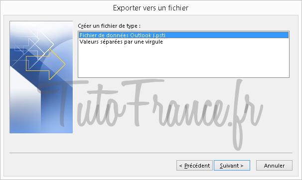 Exporter et sauvegarder les éléments Outlook vers un fichier de données Outlook (.pst) (6)