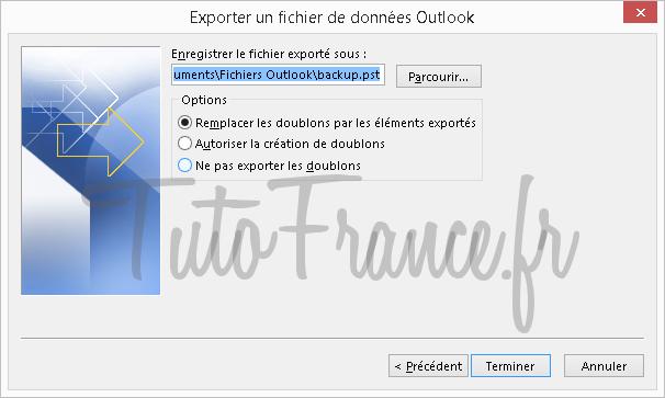 Exporter et sauvegarder les éléments Outlook vers un fichier de données Outlook (.pst) (9)