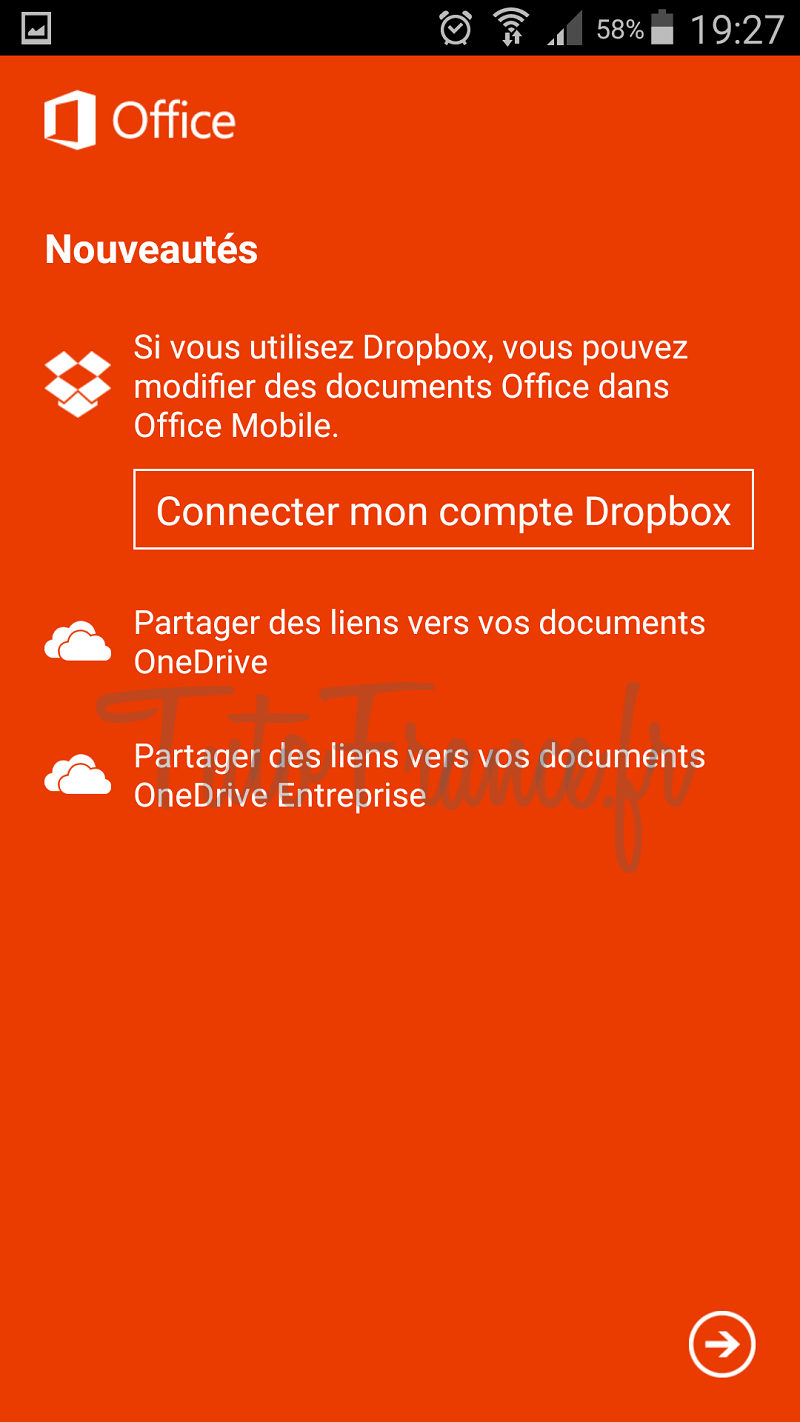 android  ouvrir, modifier un document word, excel avec Office Mobile (10)
