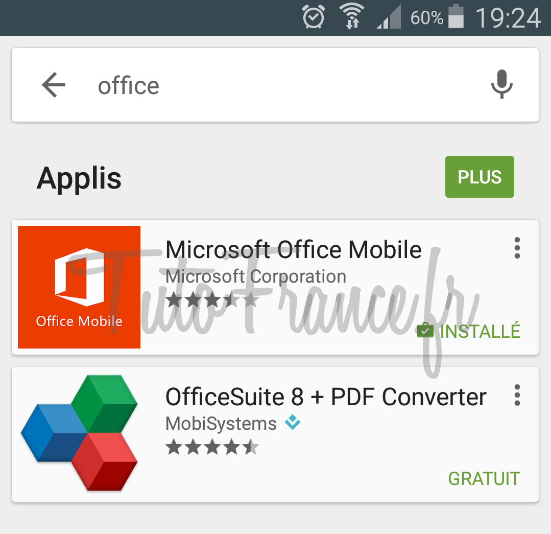 android  ouvrir, modifier un document word, excel avec Office Mobile (2)
