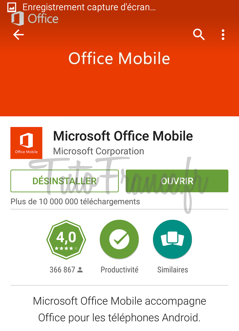 android  ouvrir, modifier un document word, excel avec Office Mobile (3)